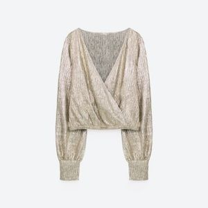 Champagne Silver Cropped Surplice Blouse